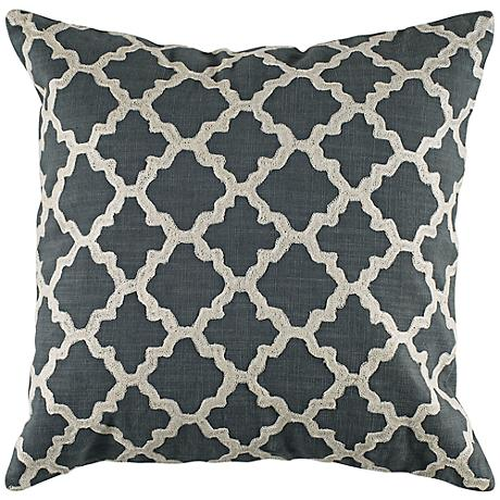 """Ivory Embroidered Gray Geometric 18"""" Square Throw Pillow"""