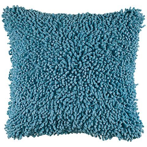 "Vibrant Aqua Blue 18"" Square Shag Throw Pillow"