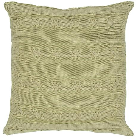 """Sage Green Sweater Knit 18"""" Square Throw Pillow"""