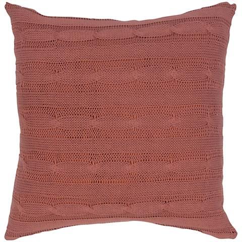 "Paprika Orange Sweater Knit 18"" Square Throw Pillow"