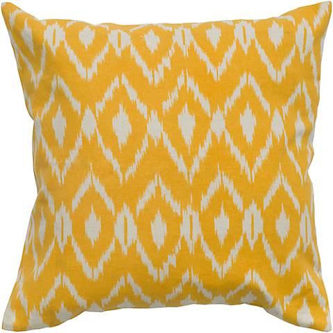 "Mustard Yellow Diamond Print 18"" Square Throw Pillow"