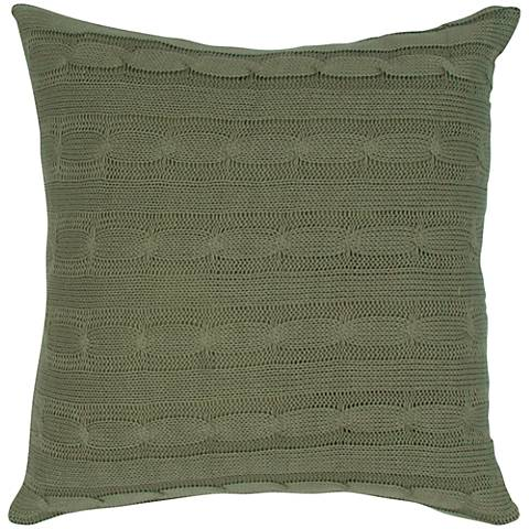 "Olive Green Sweater Knit 18"" Square Throw Pillow"