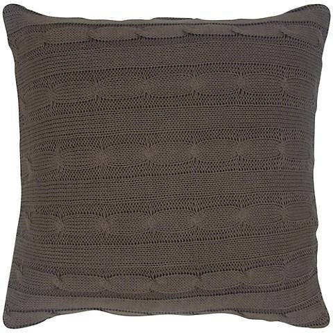 "Mocha Brown Sweater Knit 18"" Square Throw Pillow"