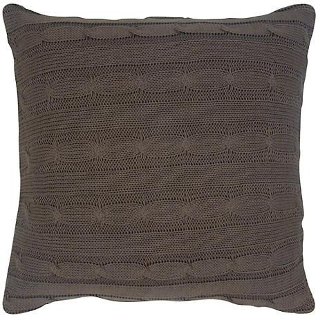 """Mocha Brown Sweater Knit 18"""" Square Throw Pillow"""
