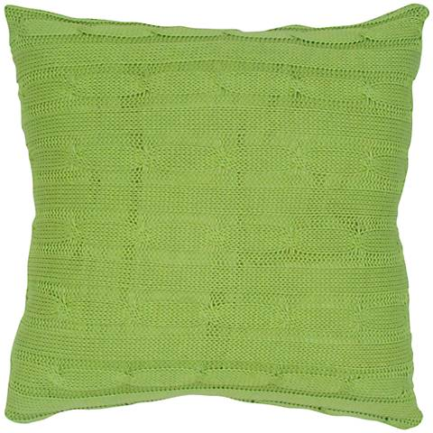 "Lime Green Sweater Knit 18"" Square Throw Pillow"