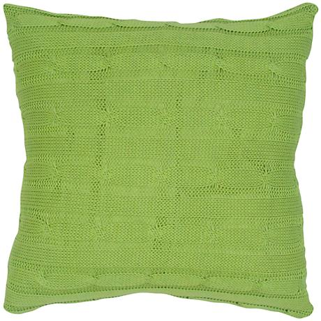 """Lime Green Sweater Knit 18"""" Square Throw Pillow"""