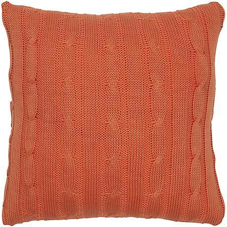 "Orange Sweater Knit 18"" Square Throw Pillow"