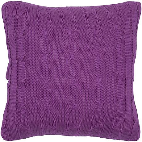 "Raspberry Purple Sweater Knit 18"" Square Throw Pillow"