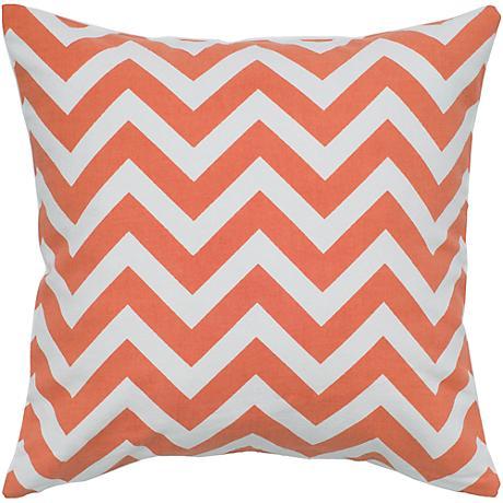 """Orange and White Chevron 18"""" Square Throw Pillow"""