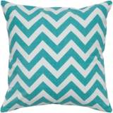"Teal Blue and White Chevron 18"" Square Throw Pillow"
