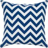 "Navy Blue and White Chevron 18"" Square Throw Pillow"