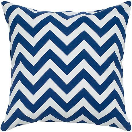 """Navy Blue and White Chevron 18"""" Square Throw Pillow"""
