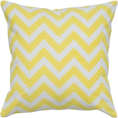 """Yellow and White Chevron 18"""" Square Throw Pillow"""