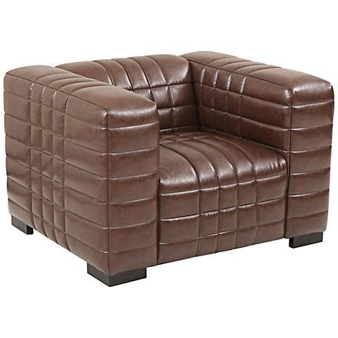 Maxton Brown Channel Stitch Leather Club Chair