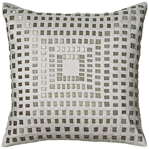"Ivory and Silver Sequin 18"" Square Throw Pillow"