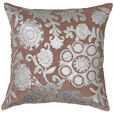 "Plum and Silver Embroidered Floral 18"" Square Pillow"