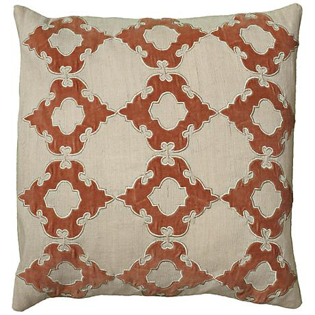 "Natural Taupe and Orange 18"" Square Throw Pillow"
