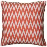 "Coral and White Woven 20"" Square Chevron Throw Pillow"