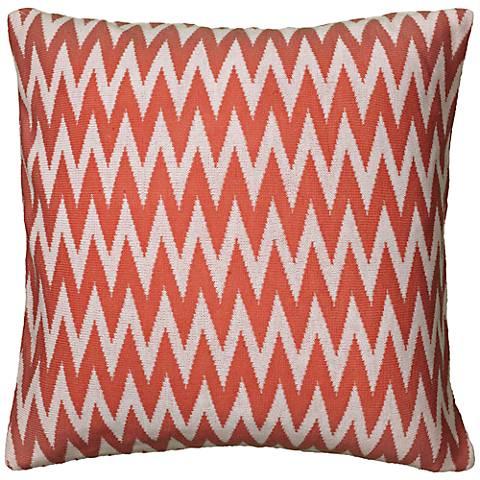 "Coral and White Woven 20"" Square Chevron Throw Pillow"