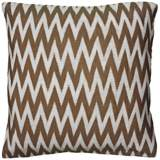 "Brown and White Woven 20"" Square Chevron Throw Pillow"