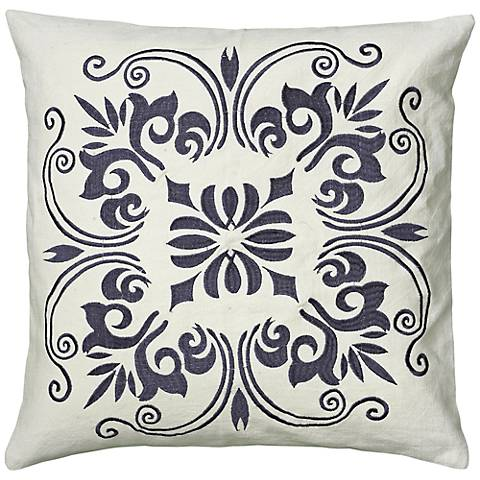 "White and Steel Blue 18"" Square Decorative Throw Pillow"