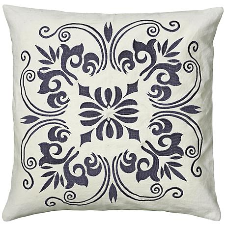 """White and Steel Blue 18"""" Square Decorative Throw Pillow"""