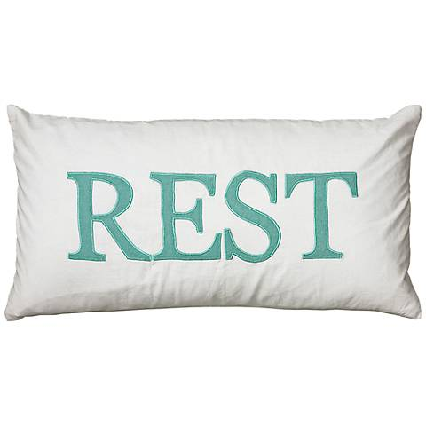 "White and Teal Rest 21"" x 11"" Decorative Lumbar Pillow"