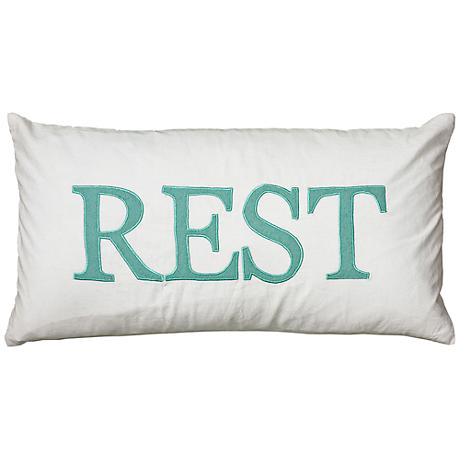 """White and Teal Rest 21"""" x 11"""" Decorative Lumbar Pillow"""