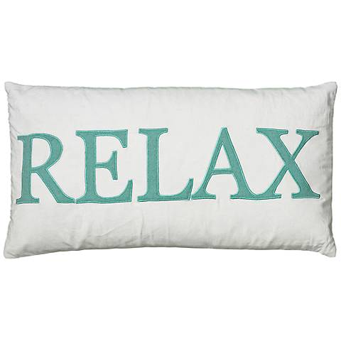 "White and Teal Relax 21"" x 11"" Decorative Lumbar Pillow"