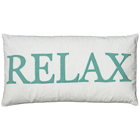 """White and Teal Relax 21"""" x 11"""" Decorative Lumbar Pillow"""