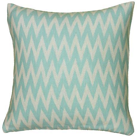 """Aqua Blue and White Woven 20"""" Square Chevron Throw Pillow"""