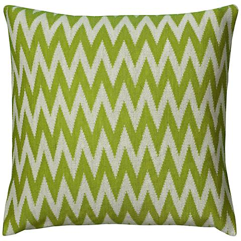 "Lime Green and White Woven 20"" Square Chevron Pillow"