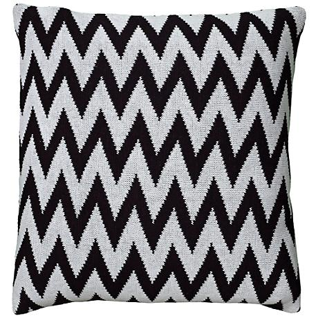 "Black and White Woven 20"" Square Chevron Throw Pillow"