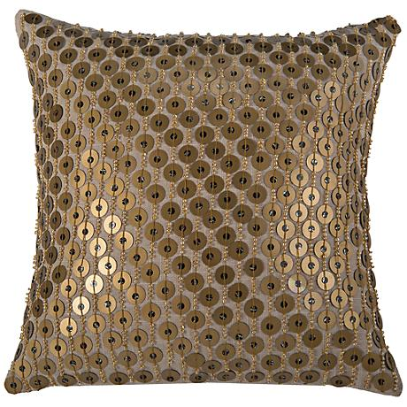 "Gold Sequin 12"" Square Decorative Throw Pillow"
