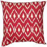 "Red Diamond Print 18"" Square Throw Pillow"