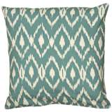 "Teal Blue Diamond Print 18"" Square Throw Pillow"