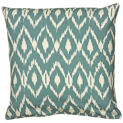 """Teal Blue Diamond Print 18"""" Square Throw Pillow"""