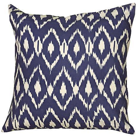 "Navy Blue Diamond Print 18"" Square Throw Pillow"