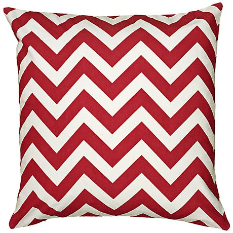 """Red and White Chevron 18"""" Square Throw Pillow"""