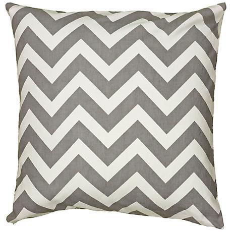 """Gray and White Chevron 18"""" Square Throw Pillow"""