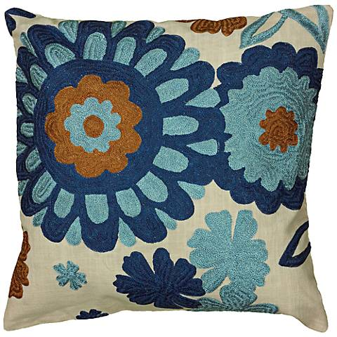 "Blue and Cream Floral Embroidered 18"" Square Throw Pillow"