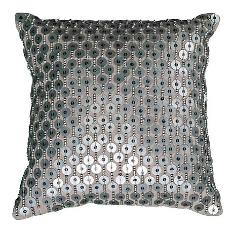 "Silver Sequin 12"" Square Decorative Throw Pillow"