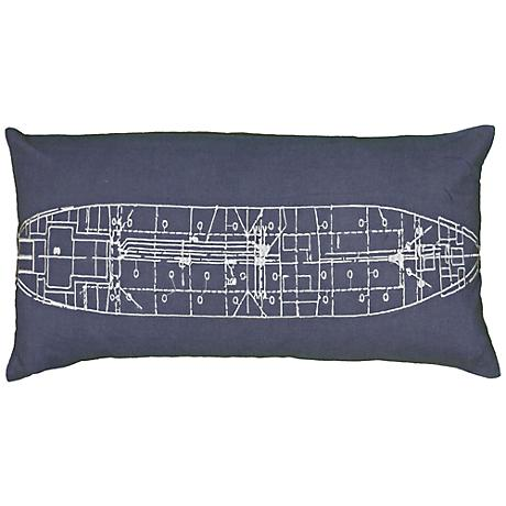 "Blue and Ivory Ship Blueprint 21"" x 11"" Throw Pillow"