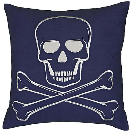 """Blue and Ivory Crossbones 18"""" Square Throw Pillow"""