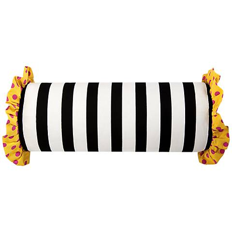 "Black and White Striped and Polka Dot 21"" x 7"" Pillow"