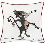 "Punk Rock Monkey Gray and Red 18"" Square Decorative Pillow"
