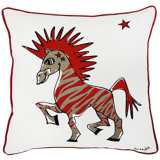 "Punk Rock Zebra Gray and Red 18"" Square Decorative Pillow"