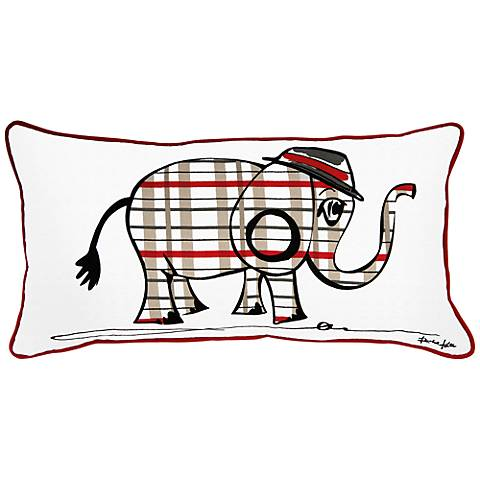 "Punk Rock Elephant Gray and Red 21"" x 11"" Decorative Pillow"