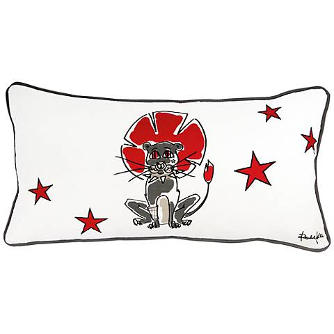"Punk Rock Lion Gray and Red 21"" x 11"" Decorative Pillow"
