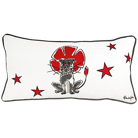 """Punk Rock Lion Gray and Red 21"""" x 11"""" Decorative Pillow"""